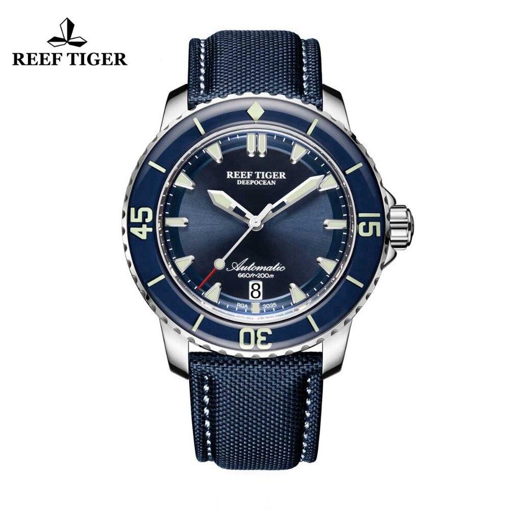 Récif Tigre/RT Super Lumineux Plongée Montres Hommes Bleu Cadran Analogique Automatique Montres Nylon Sangle reloj hombre 2018 RGA3035