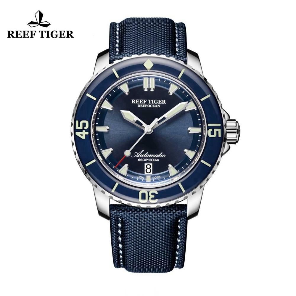 Reef Tiger/RT Super Luminous Dive Watches Mens Blue Dial Analog Automatic Watches Nylon Strap RGA3035