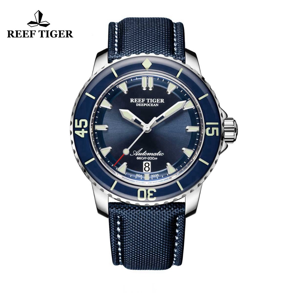 Reef Tigre/RT Super-Luminoso Dive Orologi Mens Blu Quadrante Analogico Orologi Automatici Cinturino In Nylon RGA3035