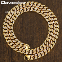 Miami Iced Out Necklace for Men Curb Cuban Chain Link Gold 316L Stainless Steel Paved CZ Bling Hip Hop Jewelry Male 12mm LHN109