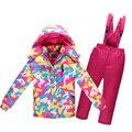 2016 de Invierno Los Niños Traje de Esquí a prueba de Viento Caliente Para la Muchacha Del Muchacho Niños chaqueta Pantalón de Esquí Impermeable ropa de Camuflaje set 3-12Y