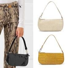 2019 Croc Baguette Shape Bag for Women Crocodile Pattern Patent Leather Handbags
