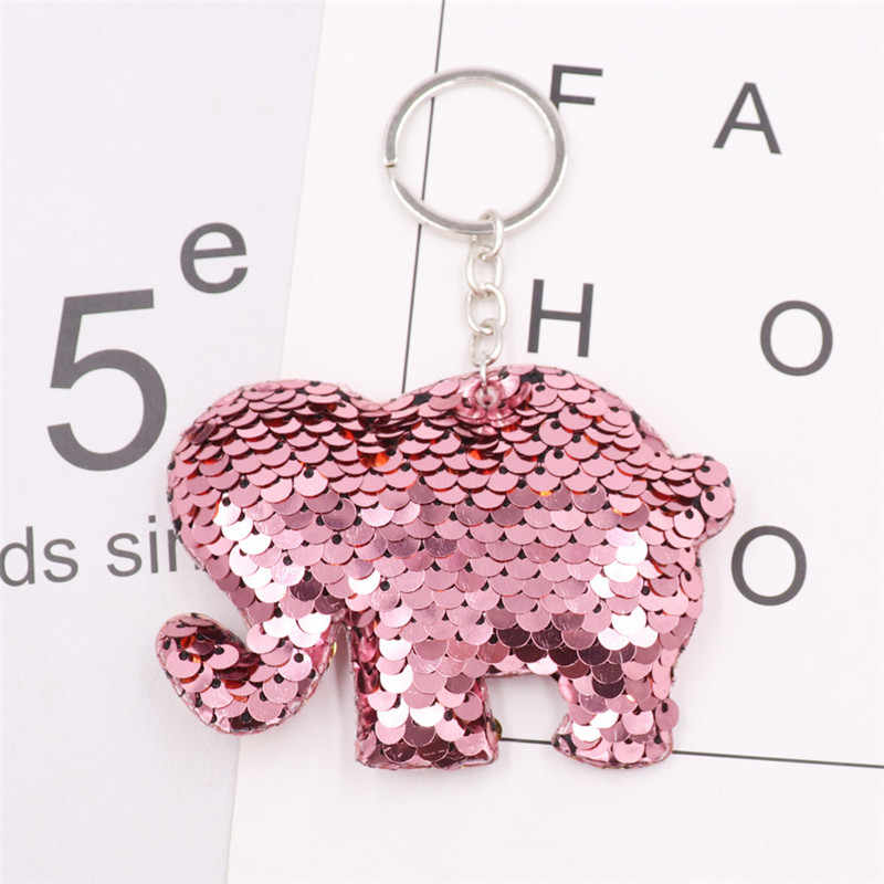 Sitaicery lantejoulas elefante bonito chaveiro saco charme pom pom chaveiro para as mulheres homem chaveiro acessórios jóias namorado presente