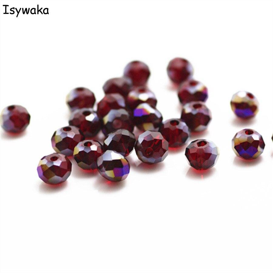Isywaka разноцветные 4*6 мм 50 шт Австрийские граненые стеклянные бусины Rondelle, круглые бусины для изготовления ювелирных изделий - Цвет: Dark red