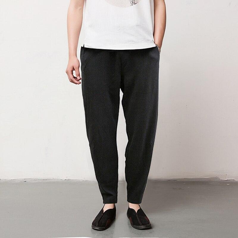 5 Colors Large Size M-5XL Men Loose Casual Pant Breathable Cotton Linen Male Harem Trousers Jogger Sweatpant
