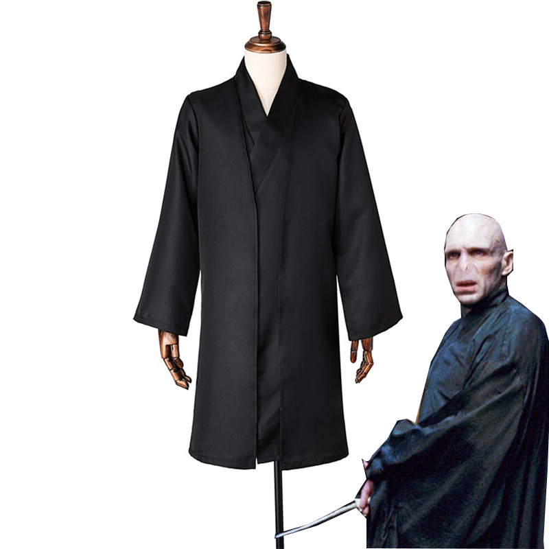 Lord Voldemort Cosplay Costume Tom Marvolo Riddle Black Kimono Halloween Carnival Uniforms Custom Made Cloak Gown