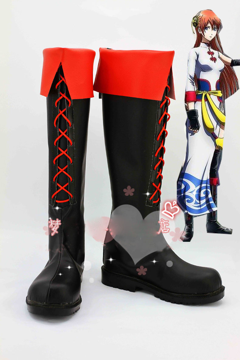 Anime Gintama/Silver Soul Kagura Cosplay Boots costume shoes Custom Made Halloween Free Shipping