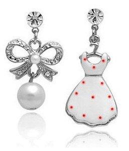 free shipping giftbag Wholesale Hotselling Gold Silver Dress Diamond pearl bow hanger dress Earrings Austria crystal Zircon 2036