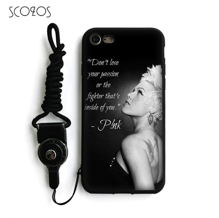 SCOZOS P!nk Silicone TPU Phone Case Soft Cover For IPhone X 5 5S Se 6 6S 7 8 6 Plus 6S Plus 7 Plus 8 Plus #ka171