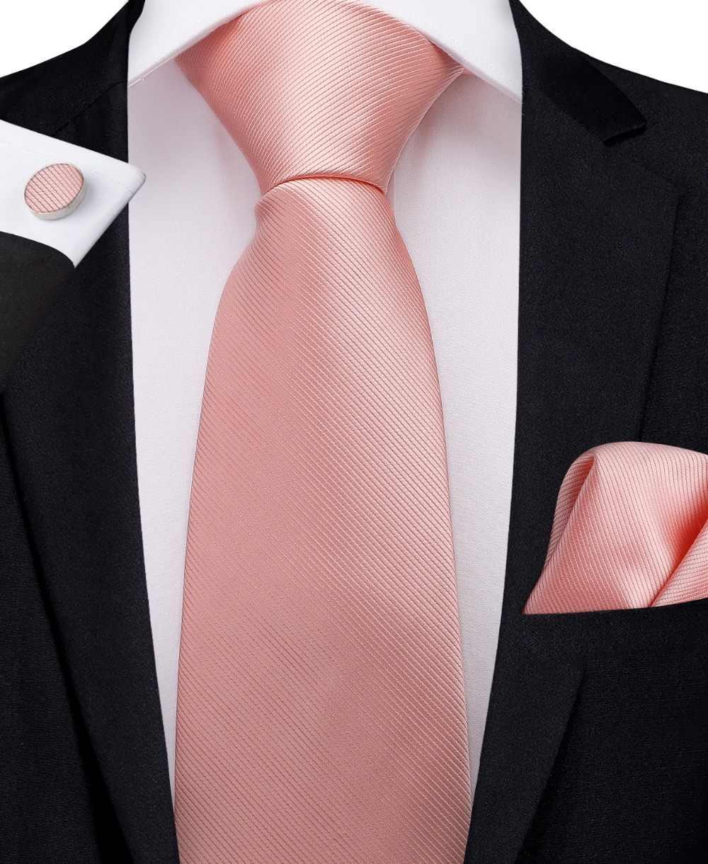 0ebe8bdeaa94 SJT-7242 DiBanGu Luxury Pink Solid Ties for Men Hanky Cufflinks Ties 100%  Silk