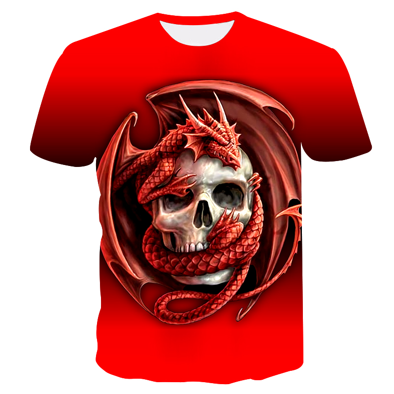Men's T-shirt 3D printing pterosaurs and skulls unisex red T-shirt High quality street fashion casual t-shirt Round neck tops