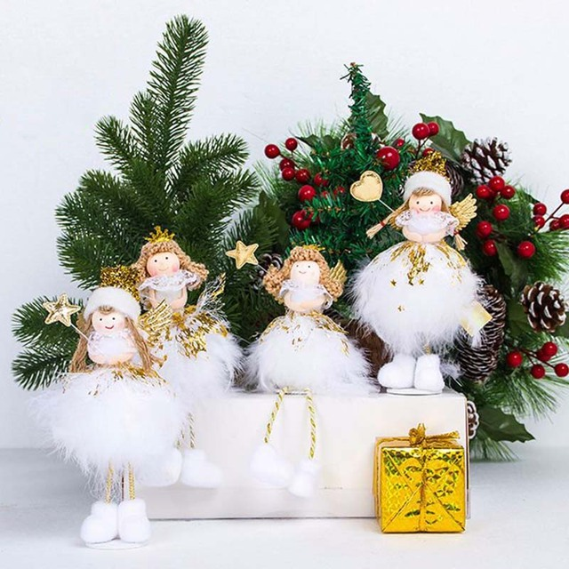 creative kawaii christmas angel with wing dolls desktop figurines merry christmas decorations for home baby girls