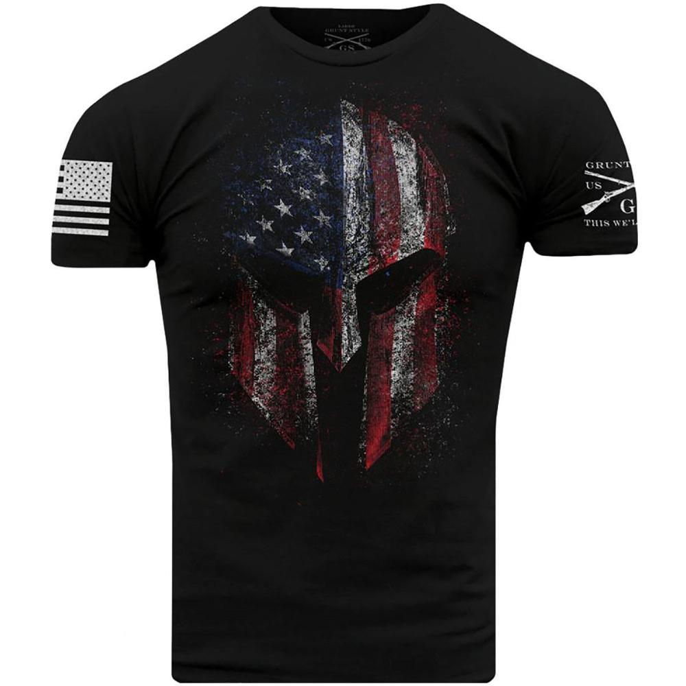 Men   T     Shirts   American Fighter USA Flag Skull Distressed Graphic Tees 5XL Grunt Style Dye