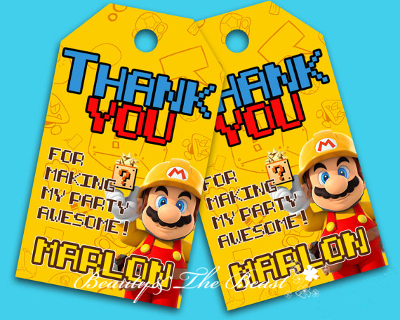 Super Mario Favor tags Thank you TagsSuper Mario Bros Gift Favors