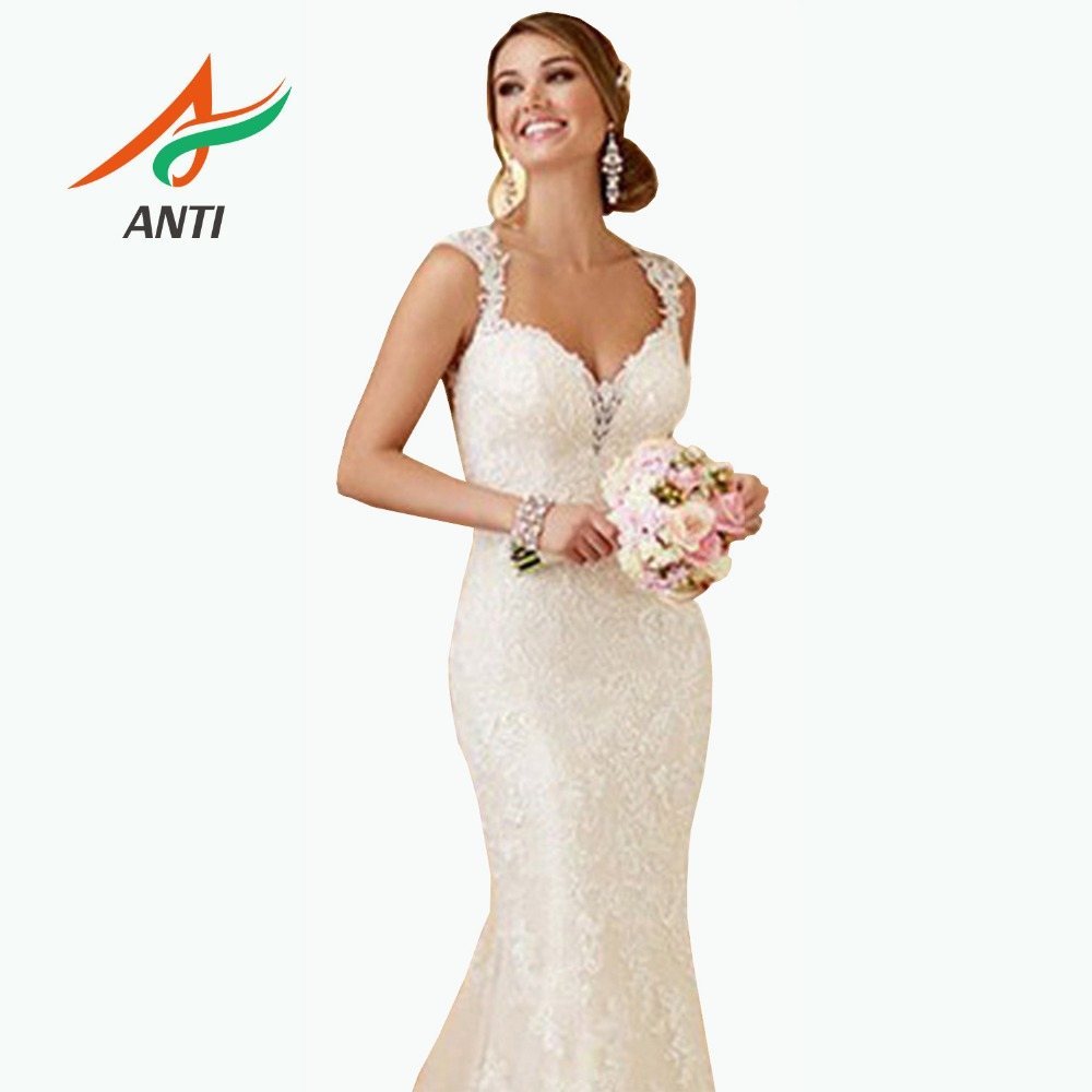 ANTI Robe De Mariage Sexy V Neck Sleeveless Lace Mermaid Wedding Dress 2019 Bridal Gowns Custom Vestido De Noiva With Crystal