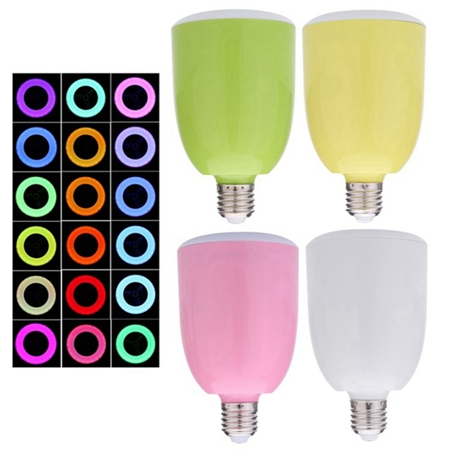 Remote Control Music Player Bluetooth Speaker Energy-Saving E27 18 Colors Change LED Bulb Light Lamp For IOS Android SmartPhone