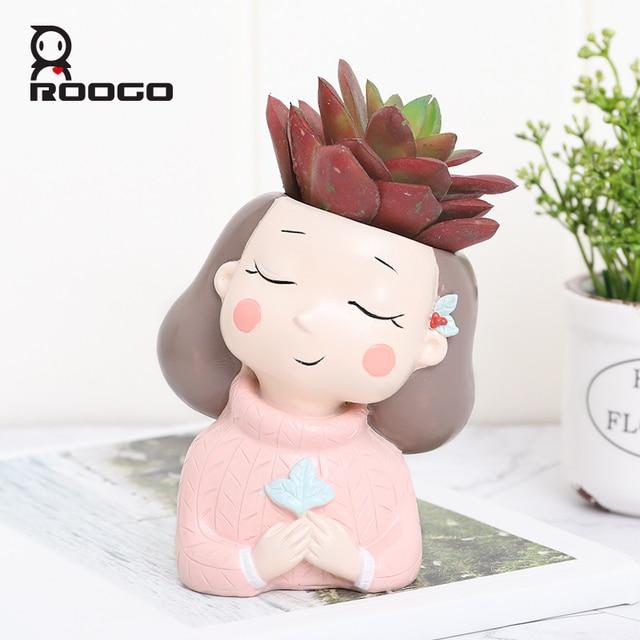 Roogo 꽃 냄비 succulents 홈 가든 장식 재배자 귀여운 소녀 화분 재배자 데스크탑 미니 액세서리 분재 냄비