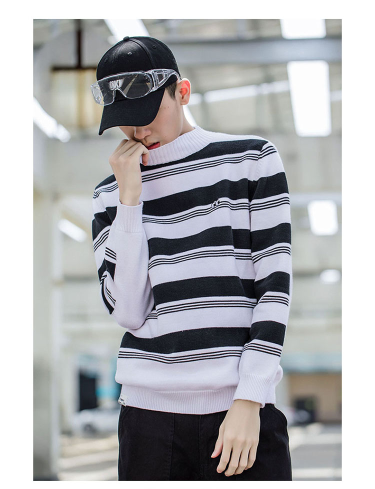 Aolamegs Striped Sweater Men Autumn Winter Fashion Casual Sweater Pullovers Harajuku Youth Couples Stripe Knitting Tops Clothing (10)