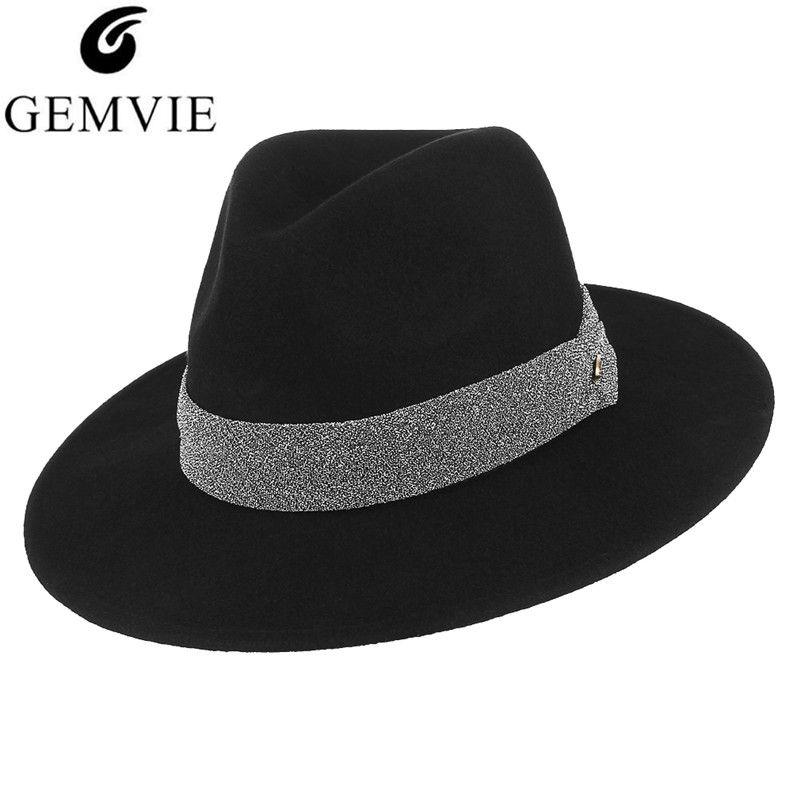6e3b8ef9a00fd GEMVIE Women British Style Fedoras Jazz Cap Vintage Wide Brim 100% Wool  Felt Hat Fall Winter Warm Felt Hat Formal Party Top Hat