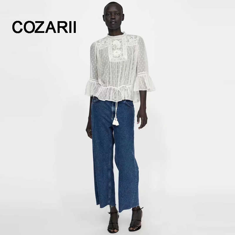 COZARII blusas mujer de moda 2018 romatic Chiffon jacquard tassels flare sleeve lace shirt womens tops and blouses plus size