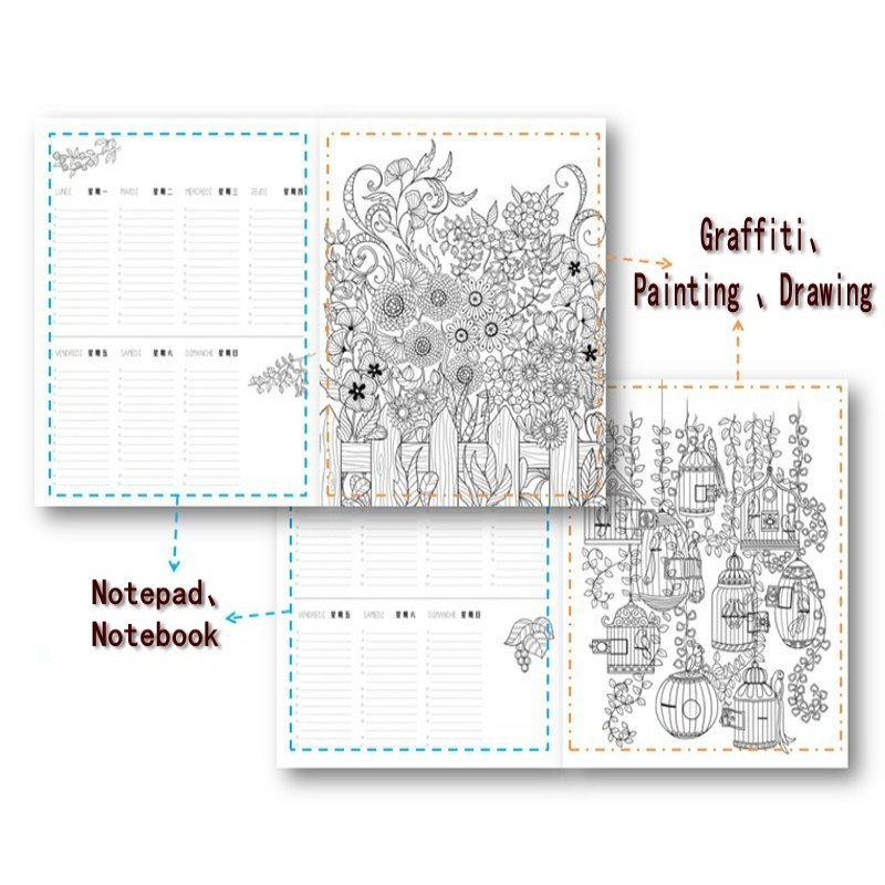 Image 2 - Lost Garden Art Coloring Notepad Colouring Book For Children Adults Relieve Stress Drawing antistress art Coloring books gift-in Books from Office & School Supplies