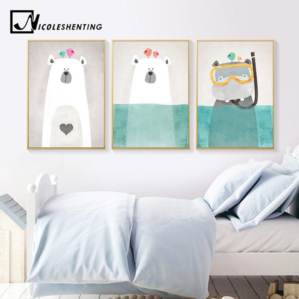 Nordic Seni Beruang Kutub Hippo Kanvas Poster Minimalis Lukisan Kartun Modern Nursery Gambar Rumah Dekorasi Kamar Anak