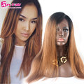 Remy Full Lace Human Hair Wigs #1b/30 Stocked Straight Lace Front Wigs Baby Hair Glueless 7A Two Tone Human Hair Lace Front Wigs