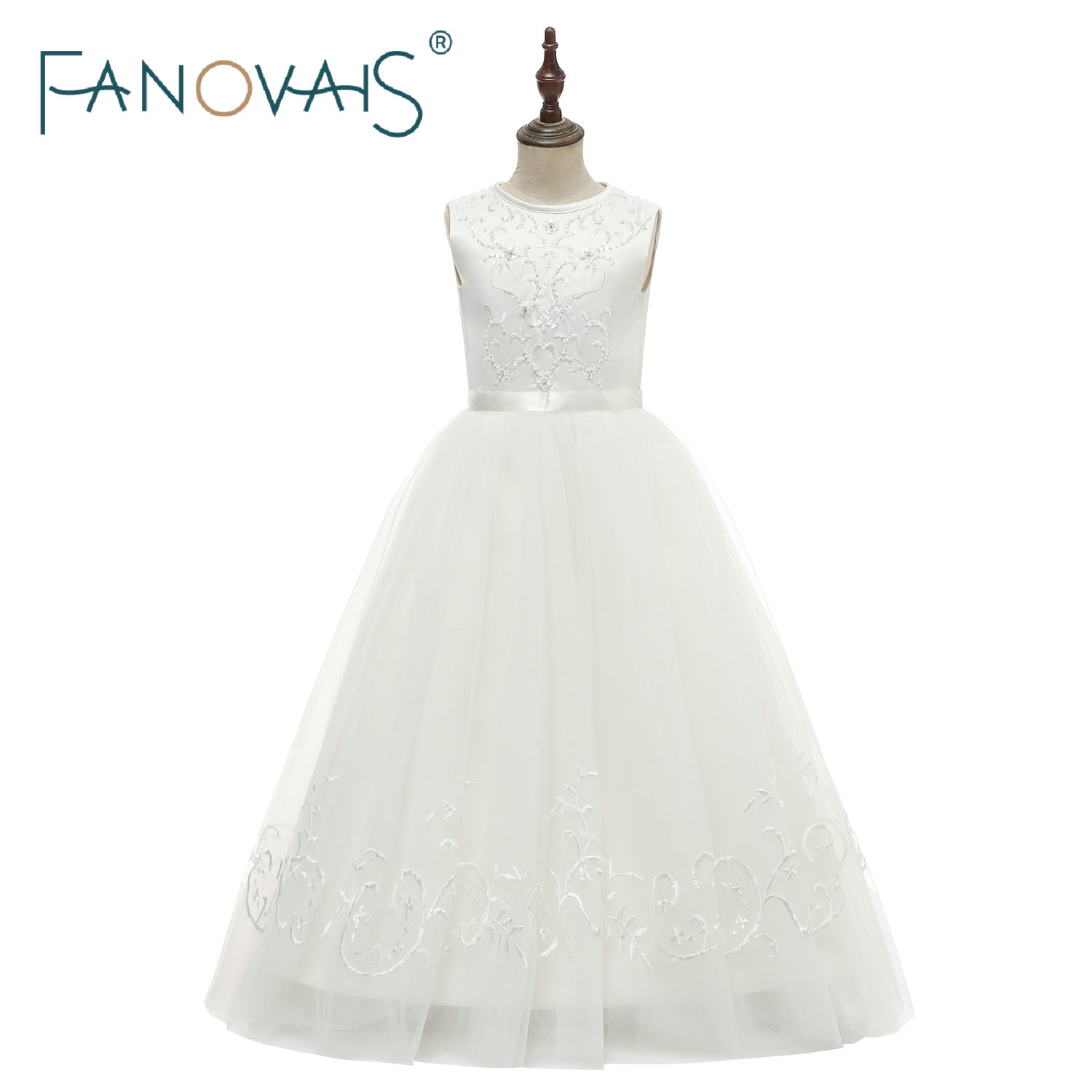 2019 Flower Girl Dresses Long Embroidery Beads Dresses for Kid Princess Party Gowns Flower Girl Dress for Wedding