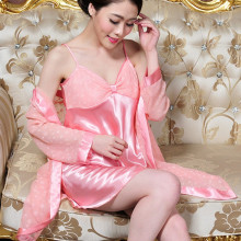 Free delivery Tow-piece Long sleeve Lady Spaghetti Strap Sleepwear Robe&Gown Set 7 colours
