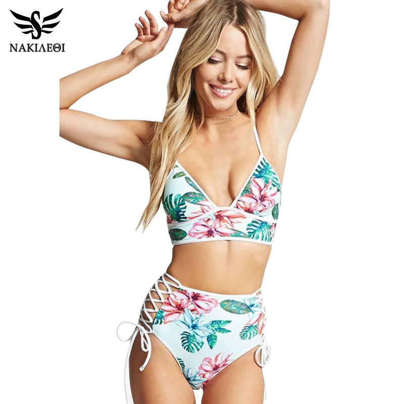NAKIAEOI 2018 Sexy Bandage Bikini Women Push Up Swimwear High Waist Swimsuit Print Brazilian Bikini Set Swim Suit Bathing Suits