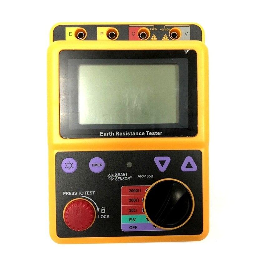 Smart Sensor AR4105B Digital Earth Ground Resistance Meter Tester Megger Test Meter Megohmmeter Range 20ohm/200ohm/2000ohm