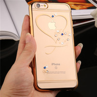 Crystal Phone Cases For Iphone 7 Rose Gold Plating Glitter Ultra Thin Clean Soft TPU Diamond
