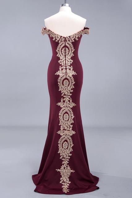 New Arrival Burgundy Lace Mermaid Prom Dresses Long Sexy Open Back Cap Sleeve Evening Party Dresses Vestido de Festa 2