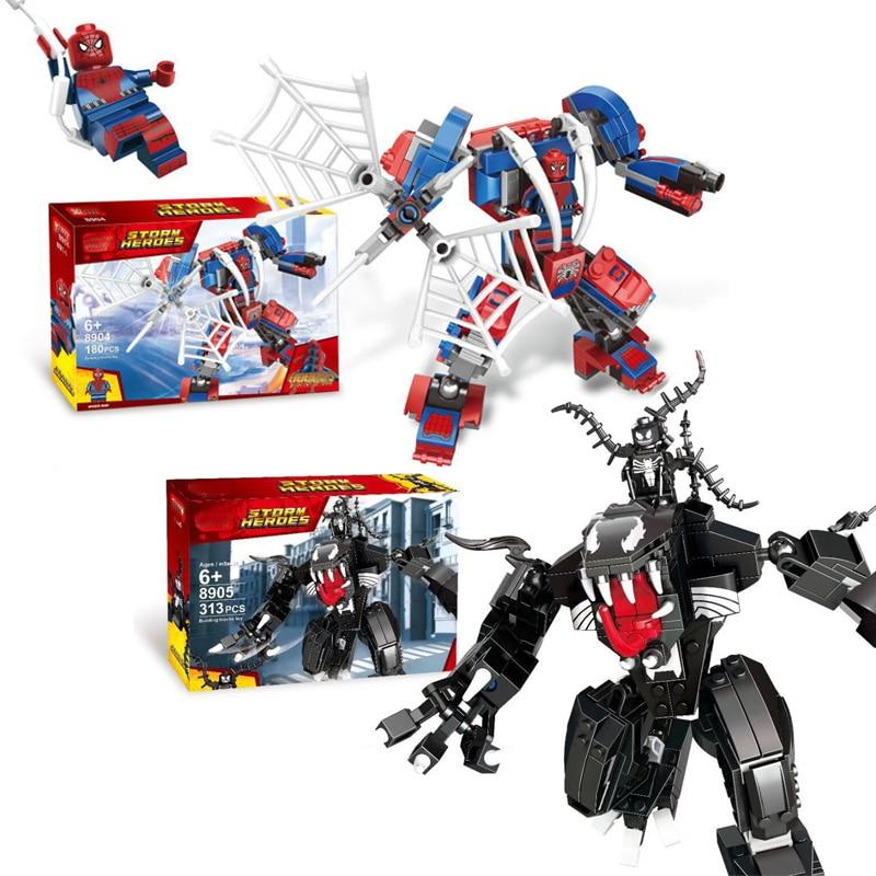 2019 Нов Марвел Супер Герои Мстители Филм Фигура Спайдърмен И Venom Mech Строителни Блокове Комплект Детски Играчки Съвместими LegoINGlys