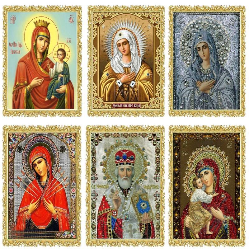 Theotokos Iverskaya Othodox Icon Diamond Embroidery Religion Diamond Mosaic DIY 5D Craft Crystal Bead Drill Decor Gift Set fc229