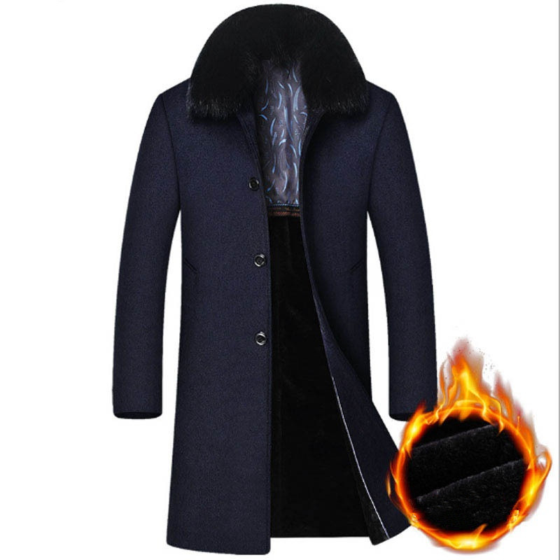 2018 Winter Mens New Arrival Detachable Collar Silm Fit Long Coat Men Thicker Warm Wool Trench Coats M-4XL Casaco Masculino(China)