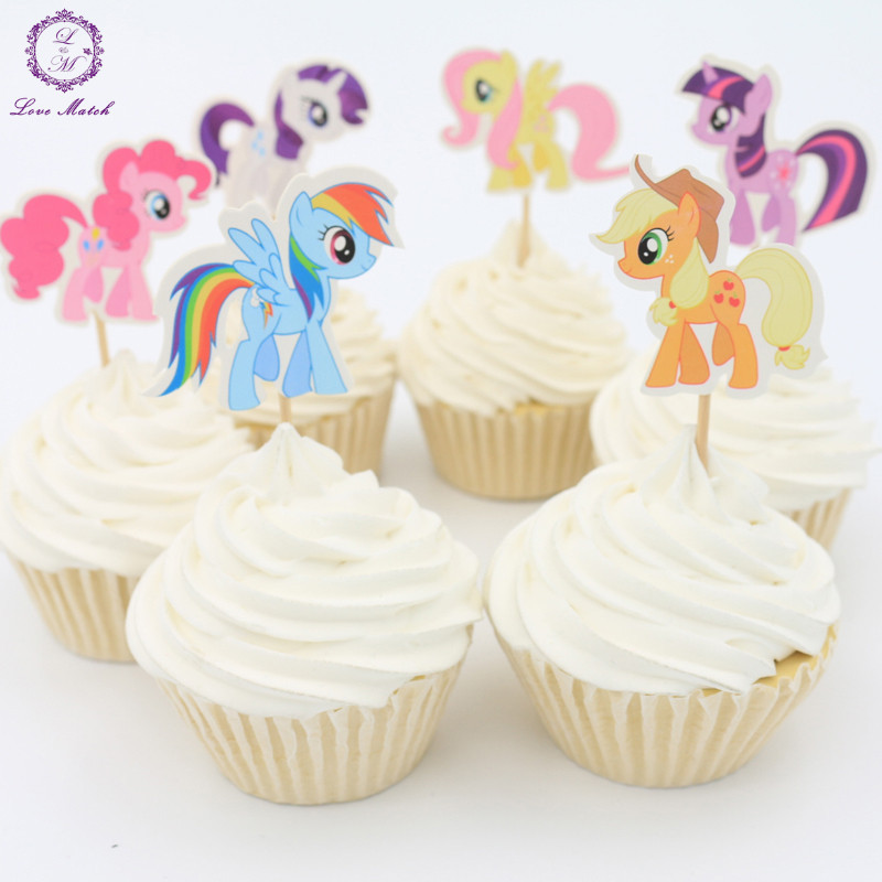 Good Value 2018 New 24pcs Party Supplies My Little Pony Cupcake