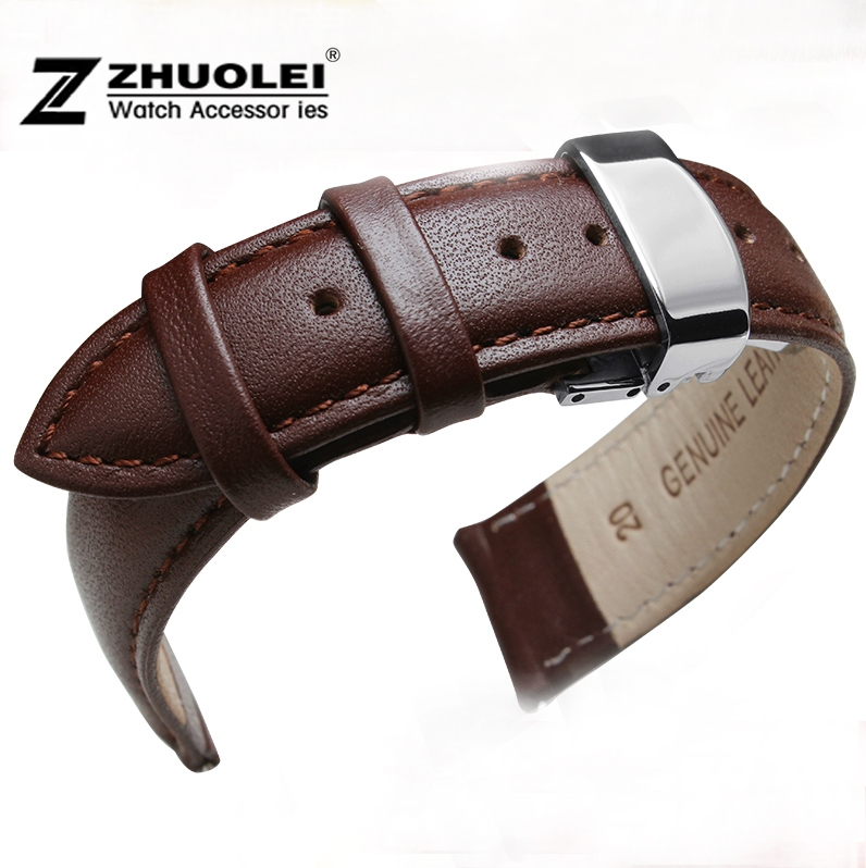 Watch Strap 18mm 20mm 22mm Mens womens Brown Genuine Leather Watch band strap Bracelets Silver Deployant Watch buckle new fashion replace watch band 22mm 24mm mens womens dark blue 100% genuine crocodile grain leather watch strap band bracelets