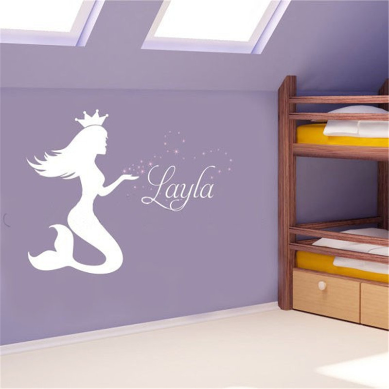 Us 11 95 8 Off T080037 Creative Mermaid Wall Sticker Decal Vinyl Stickers Lettering Baby Name Nursery In