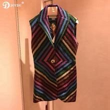 JOYDU 2018 Fall Knitted Vest Jackets for Women Lurex Colorful Stripes Geometric Lapel Blazer Vests Coat Jacket casaco feminino