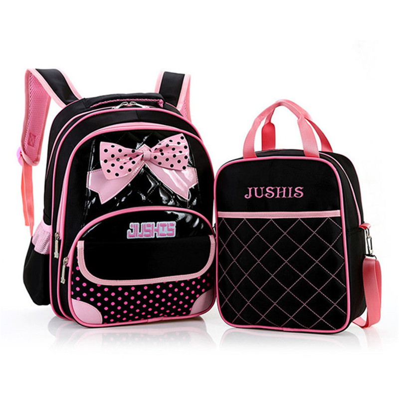 2017 Cute Bow 2pcs set Children School Bags For Girls Orthopedic Backpack Dot Printing Mochila Kids