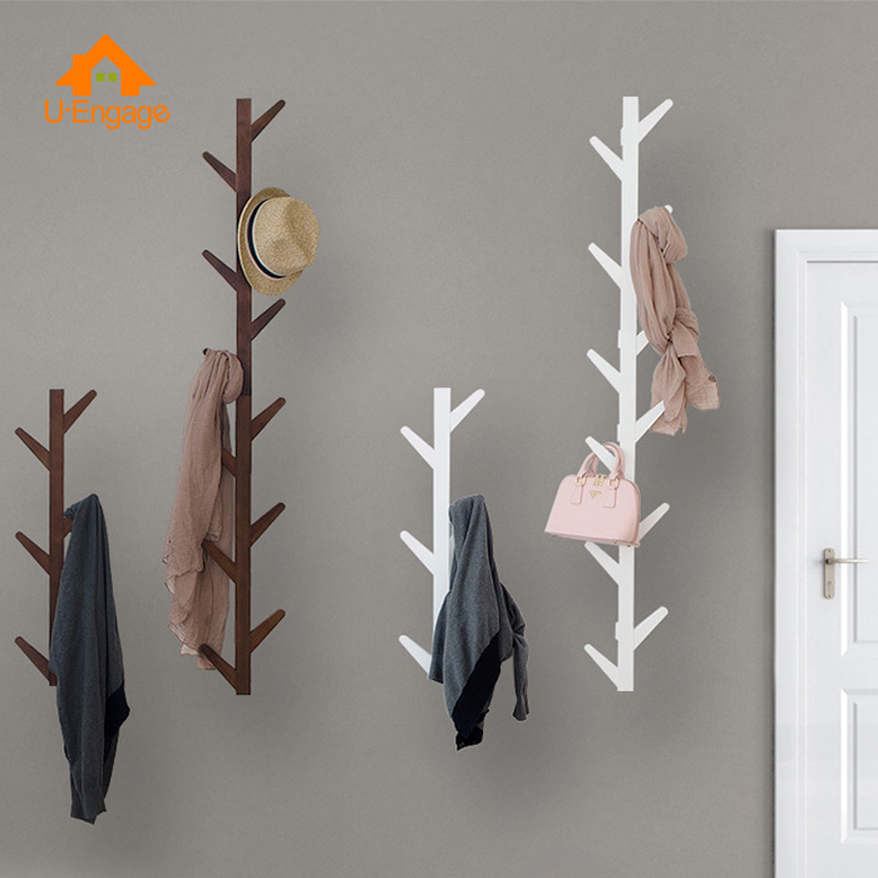 UENGAGE Modern Bamboo Wall Mounted 6 Hook Hanging Storage Organizer Entryway Coat Shelf Hat Rack Living Room Decorative Hanger