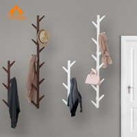UENGAGE Modern Bamboo Wall Mounted 6 Hook Hanging Storage Organizer Entryway Coat Shelf Hat Rack Living Room Decorative Hanger