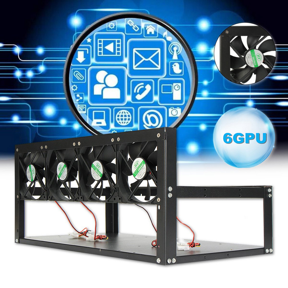 6 GPU 4 Fans Steel Coin Open Air Mining Frame Rig Case BTC ETH Ethereum Miner US 4.18