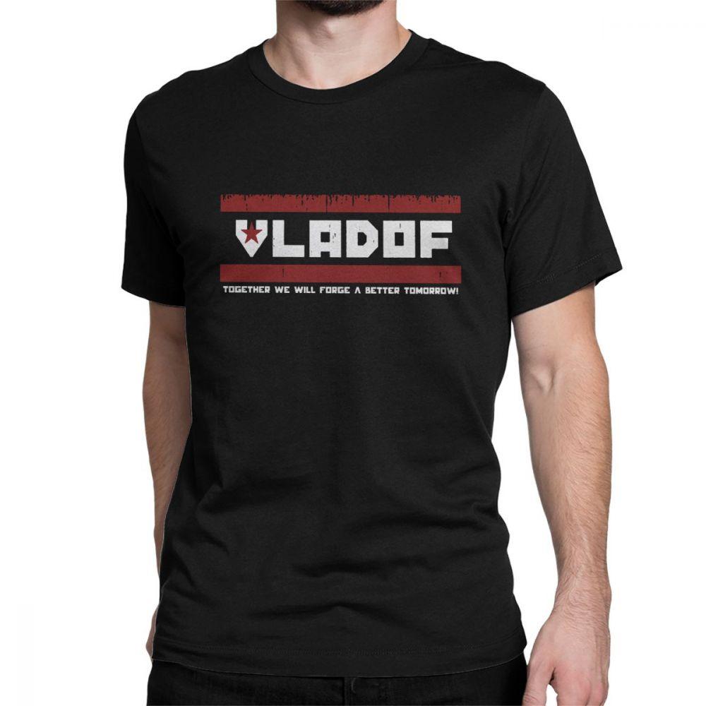 VLADOF Guns Men's T Shirt Borderlands Video Games Cotton Tops Humorous Short Sleeve Crewneck Tees Graphic Printed T-Shirts