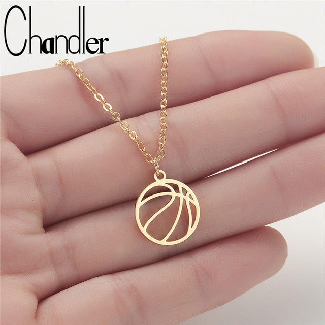 Chandler Stainless Steel Volleyball Necklaces For Women Thin Chain Link Sports Jewelry Round Volley Ball Charm Cool Fan Callors