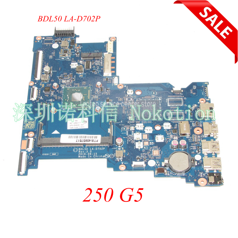 NOKOTION Original 854944-601 854944-001 Laptop Main board For HP 250 G5 Motherboard BDL50 LA-D702P Works haoshideng 854944 601 854944 001 mainboard for hp 250 g5 laptop motherboard bdl50 la d702p 854944 001 all functions fully tested