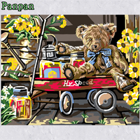 Frameless Pictures on Wall Diy Digital Oil painting By Numbers Coloring Kits Teddy Bear Children's room Decorative paintings