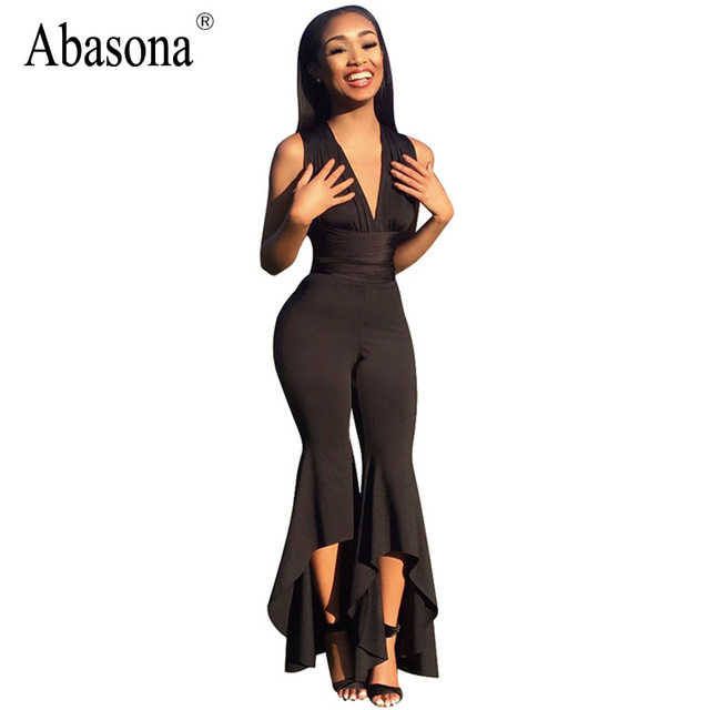 2da21e3e27 Abasona Office lady bodycon jumpsuit wide leg Long pants romper high waist  v-neck sleeveless Party women jumpsuit club overalls