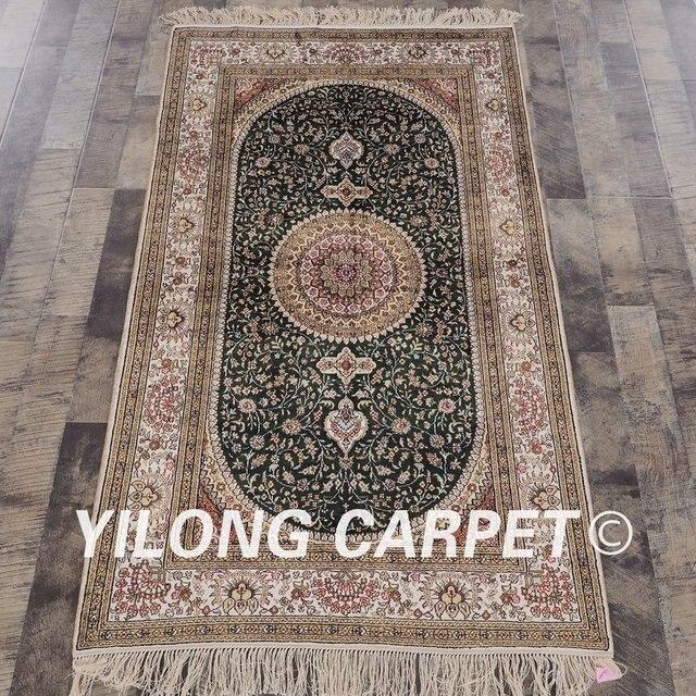 YILONG 3'x5' Turkish silk carpet beige and green handmade exquisite tabriz silk rugs